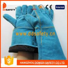 Blue Cow Split Leather Welding Safety Glove Ce Work Glove Dlw624