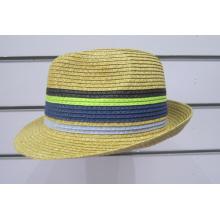 Chapeaux Fedora tressés en papier fin coloré