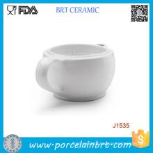 White Double Wall Ceramic Shaving Scuttle Bowl
