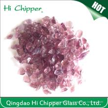 Virutas de vidrio púrpura triturada