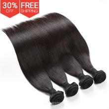 Muestra LIBRE virgen brasileña del pelo humano extensión 3 paquetes, venta al por mayor 100% brasileña cosen en armadura con el cierre