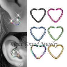 Titanium Anodized Gold Heart Shaped Jewelry Helix Piercing