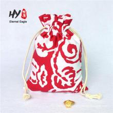 Organic cotton canvas drawstring bag for wine