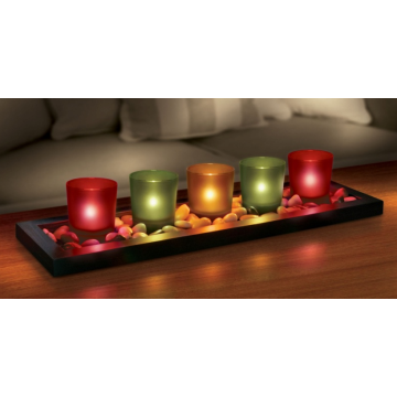Candle Holder Glass Jewel Tone 5pcs Set