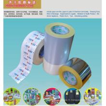 Matériel d'étiquettes autoadhésives non imprimées