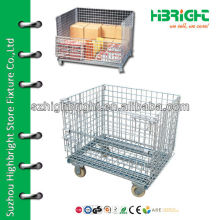 Wire mesh container with wheels