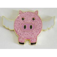 Pin rosado lindo de la insignia del metal del cerdo de la mosca en el brillo (badge-195)