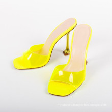 2020 Women Square Toe Clear Upper sandals Womens Slippers for Ladies