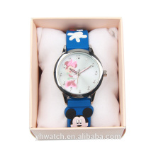 Nuevo estilo precioso diseño PU correa de cuero Japón movimiento niños relojes