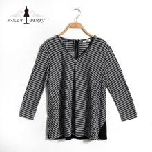 Camisas das mulheres listradas brancas pretas respiráveis da forma do decote em v das mulheres do outono