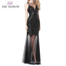 Lantejoula preta Everning Vestidos Lady vestido de baile
