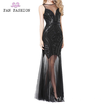 Black Sequin Everning Jurken Lady's baljurk