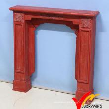 KD Vintage Antique Color Rojo Mantel de chimenea de madera de madera con resina Flor