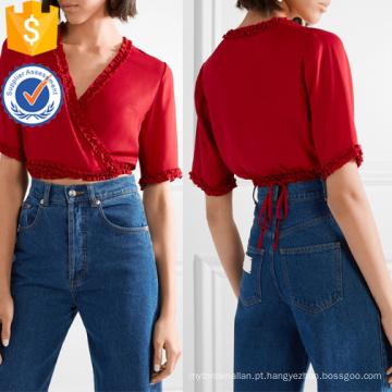 Ruffle Cropped Red manga curta com decote em V de verão Wrap Top Fabricação Atacado Moda Feminina Vestuário (TA0078T)