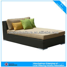 HOT!! fashion stackable outdoor rattan sun bed black round wicker outdoor daybed CF842