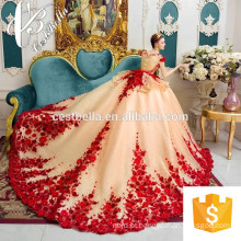 Vestido de noiva luxuoso 2017 Haute Couture Heavy Beaded Vestido de noiva Bordado Vestido de noiva com renda Vestido de baile Vermelho