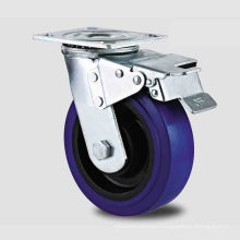 Heavy Duty Type New Double Pedal Blue High-Elascity PU Caster (KHX3-HM12-A)