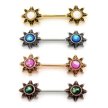 Rose Gold& Sliver Starburst Flower Nipple Ring
