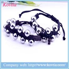 316 aço inoxidável com cercadura pulseira corda cadeia pulseira de jóias de titânio aço pulseira homens