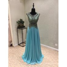синий шифон бисером вечернее платье