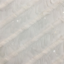 White Color 3D Sequin Embroidery On Mesh Fabric