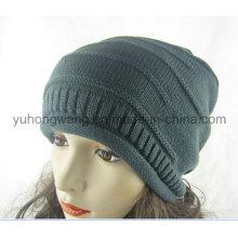 Sombrero / casquillo hechos punto de acrílico del cráneo de la gorrita tejida de acrílico de la señora caliente del invierno