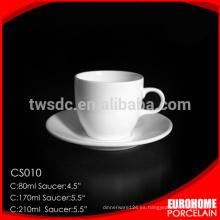 2016 nuevos bienes común platillo y taza de porcelana fina de hueso diseño redondo por mayor de china