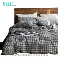 Home Bedding Cotton Fabric Bed Sheet New Product Simple Style White Smoke Stripe Checker
