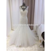 Alibaba Elegante Ivory Deep V-Neck mangas vestidos Appliqued Low Back Tule Saia Lace Mermaid Bridal Wedding Gown 15059