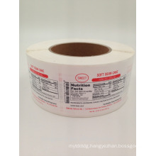 waterproof pp materia nutrition factsl sticker label frozen food