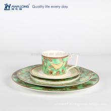 Plaque de dessert en porcelaine de style naturel, porcelaine de luxe à la vente chaude