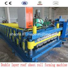 Máquina formadora de rolos de folha de telhado de camada dupla
