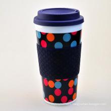 400ml plastic coffee mug, plastic mug with silicone ring, mug plastic