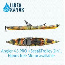 Barcos a motor Caiaque de pesca Sentar-se no assento superior único com assento e carrinho 2en1