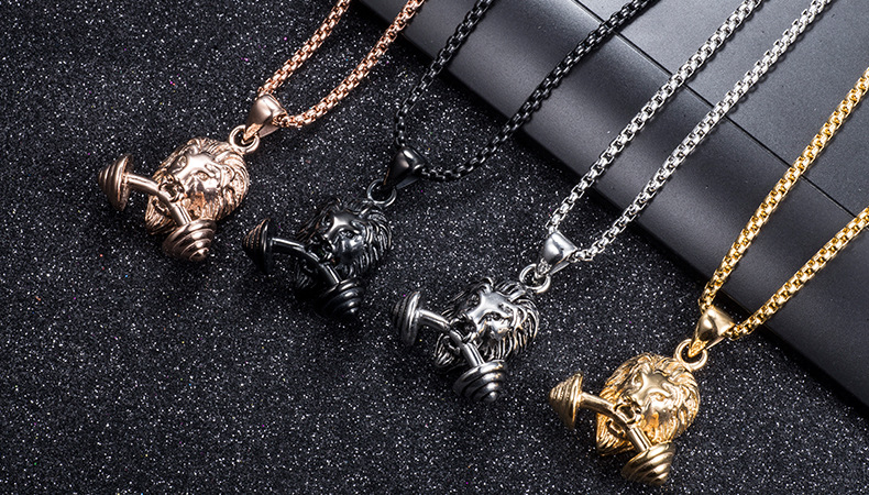 Lion Barbell Pendant Necklace