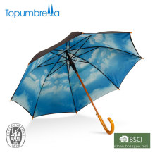 """Wooden offset straight double layer of 23""""blue sky with clouds umbrella"""