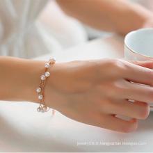 Fraîche et contractée trois couches faux perle bijoux bracelet bijoux ornements en perles