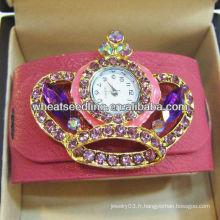 Montres à bijoux Wrap en cuir à la perle en strass Vogue WW70