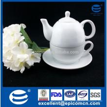 Белый керамический набор чая для одного, тонкая фарфоровая чайная посуда