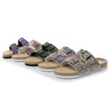 Women beach shoes cork sole slides slipper glitter sandals