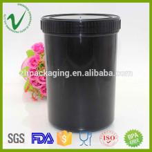 Boca larga personalizada cilindro preto vazio Frasco de plástico para embalagem de tinta
