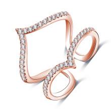 Rose Gold Brass Micro Inlay Zircon Joint Ring Jewelry (CRI1030)
