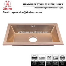 PVD Copper Brass Gold Plated Bathroom Sink, Commercial Stainless Steel Handmade Lavatory Sink