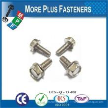 Fabriqué à Taiwan Boulons à bride hexagonale métrique Filetage complet DIN 6921 Matériau denté Zinc plaqué Classe 8 8 Acier