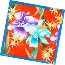 Moda Senhora Flor Impresso Lenço De Seda Quadrado (HC1302-4)