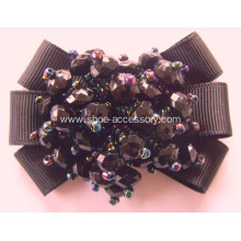 Vintage Black Fabric Flower Shoe Clips