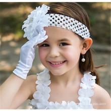 Blumenmädchen Braut Hochzeit Satin Handschuhe billig Handgelenk Länge Spitze appliques Spitze Handschuhe