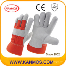 Red Industrial Cow Split Leather Hand Safety Work Gloves (110092)
