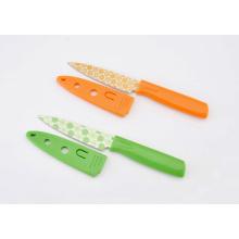 Faca Paring de aço inoxidável do revestimento colorido, faca da fruta com tampão