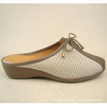 634K-S08K beautiful middle heel ladies leather sole slippers